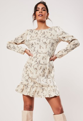 Missguided Petite Sand Cowl Back Floral Print Mini Dress