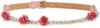 Dolce & Gabbana Embellished Chain And Lizard-effect Leather Belt