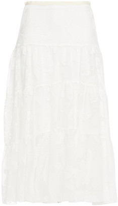 See by Chloe Gathered Lace Midi Skirt
