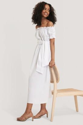 Glamorous Bardot Tie Waist Midi Dress