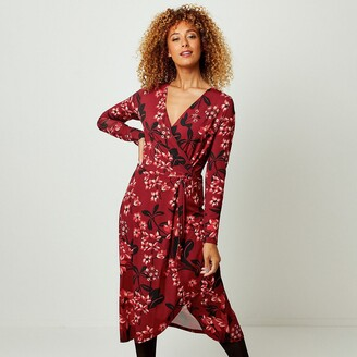 Joe Browns Long-Sleeved Floral Dress with Wrapover V-Neck