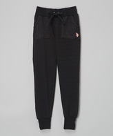 U.S. Polo Assn. Black Quilted Pocket Sweatpants - Girls