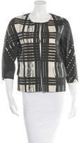 Vera Wang Printed Three-Quarter Sleeve Jacket