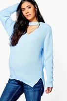 boohoo Maternity May Choker Knitted Jumper