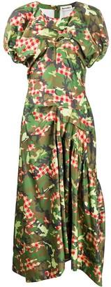 Molly Goddard Gingham Camo Midi Dress