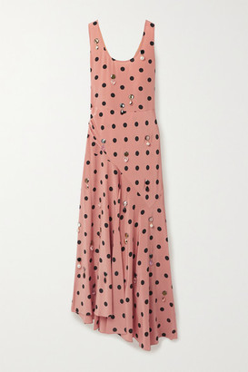 Tory Burch Embellished Draped Polka-dot Silk-georgette Maxi Dress - Antique rose