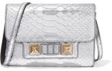 Proenza Schouler Ps11 Wallet Metallic Snake-effect Leather Shoulder Bag - Silver