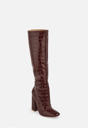 Missguided Burgundy Croc Calf Height Heeled Boots