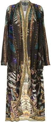 Camilla Mixed-Print Long Jacket