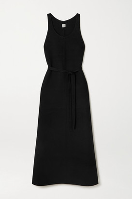 Totême Belted Wool Maxi Dress - Black