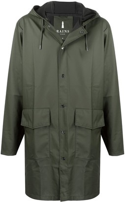 Rains Hooded Mid-Length Raincoat