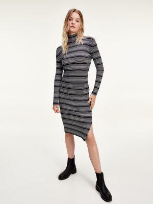Tommy Hilfiger Metallic Stripe High-Neck Midi Jumper Dress