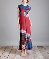 Aster Blue & Burgundy Floral Maxi Dress - Plus Too