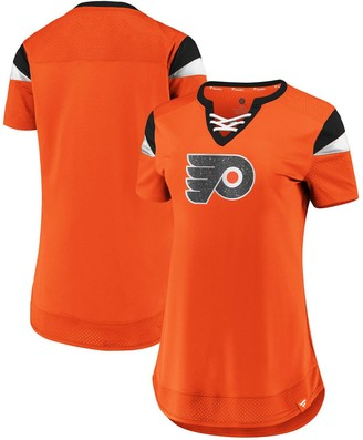 Women's Fanatics Branded Orange Philadelphia Flyers Iconic Athena Lace-Up V-Neck T-Shirt