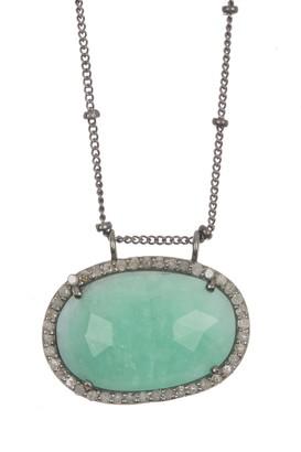 Adornia Fine Diamond Halo Light Emerald Sideways Pendant Necklace - 0.30 ctw