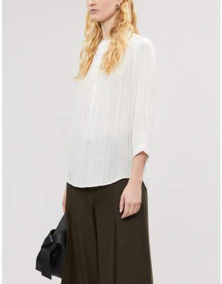 The White Company Metallic sheer crepe blouse
