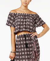 Love, Fire Juniors' Off-The-Shoulder Crop Top