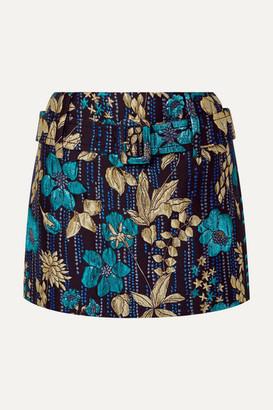 Prada Belted Metallic Brocade Mini Skirt - Blue