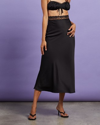 Dazie - Women's Black Midi Skirts - Love Song Lace Trim Midi Skirt - Size 6 at The Iconic