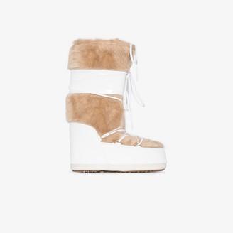 Moon Boot White Classic Faux Fur Trim Snow Boots