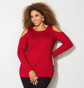 Avenue Ribbed Cold Shoulder Sweater