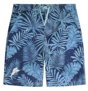 Tommy Bahama Boy's Palm-Print Satin Boardshorts