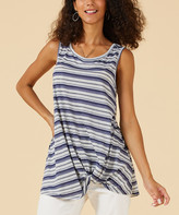 Suzanne Betro Weekend Women's Tank Tops 102NAVY/GREY - Navy & Gray Stripe Twist-Hem Tank - Women & Plus