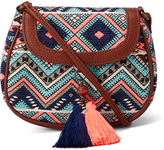 Blue & Peach Geometric Tassel Crossbody Bag