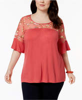 NY Collection Plus Size Embroidered Mesh Top