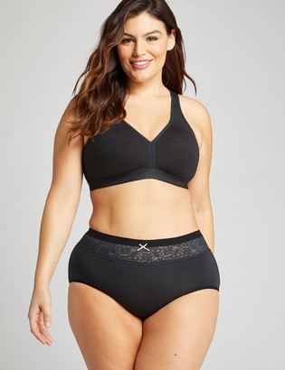 Lane Bryant Cotton Full Brief Panty with Lace Waist