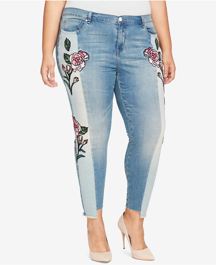 William Rast Trendy Plus Size Two-Tone Embroidered Jeans