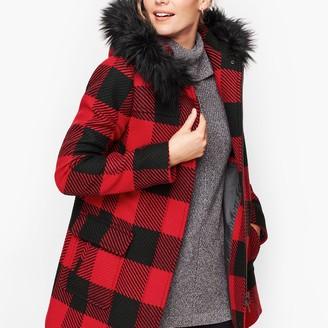 Talbots Faux Fur Trim Wool Jacket - Buffalo Check
