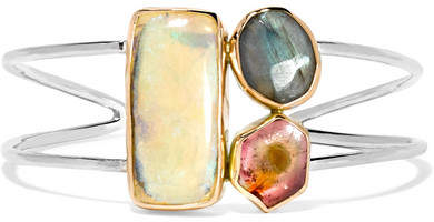 Melissa Joy Manning 14-karat Gold And Sterling Silver Multi-stone Cuff - one size