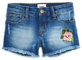 Hudson Girls' Rose Embroidered Frayed Denim Shorts - Sizes 7-14