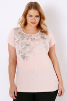 Yours Clothing Blush Pink Floral Rose Print T-Shirt With Curved Hem