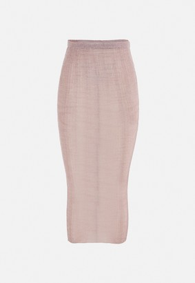 Missguided Pink Metallic Knitted Bodycon Midi Skirt