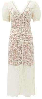 Self-Portrait Crystal-embellished Guipure-lace Dress - Ivory