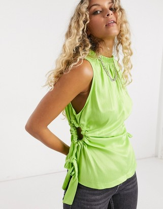 Topshop cut out tank in lime