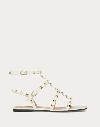 Valentino Garavani Rockstud Ankle Strap Flat Sandal In Calfskin Leather Women Light Ivory Calfskin 100% 35.5