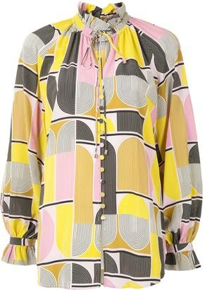 Rebecca Vallance Carlotta geometric-print blouse