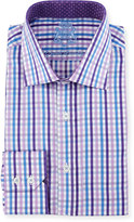 English Laundry Check Woven Dress Shirt, Lavender/Blue