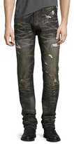 PRPS Distressed 3D-Crinkle Relaxed-Slim Jeans, Black
