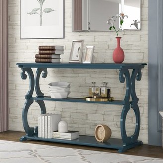 "One Allium Way Brazoria 48"" Console Table Color: Navy Blue"