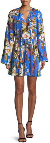 Diane von Furstenberg Floral Silk Cinch-Sleeve Mini Dress