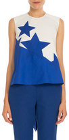 DELPOZO Bold Star-Print High-Low Blouse, Natural White/Blue