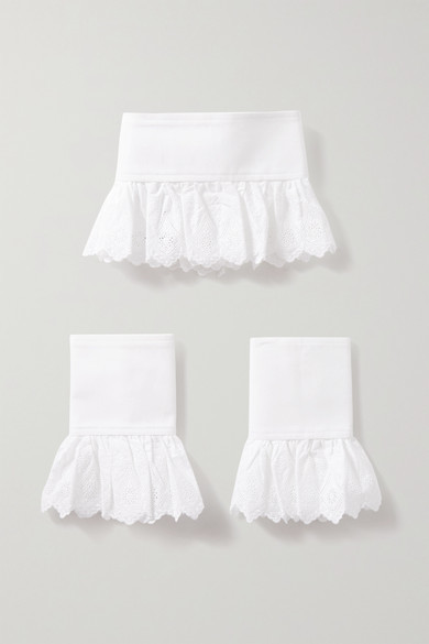 Paco Rabanne Broderie Anglaise-trimmed Cotton Collar And Cuffs Set - White