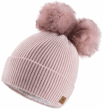 4sold Miki Colour White Navy Womens Girls Winter Hat Wool Knitted Beanie with Double Pom Pom Cap Ski Snowboard Bobble
