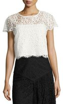 Milly Short-Sleeve Lace Baby Tee, White
