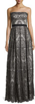 Catherine Deane Strapless Pleated Metallic Lace Gown, Gunmetal/Silver