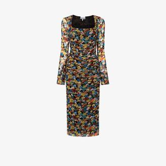 Ganni Floral Print Ruched Midi Dress
